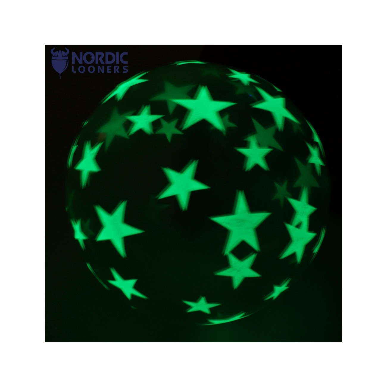 "Qualatex 36\"" Stars glows in the dark #28154 87,42 DKK Nordic Looners"