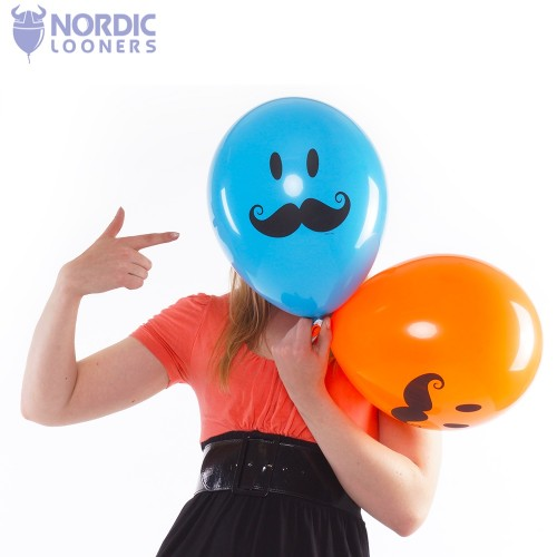 "Qualatex 11"" smiley mustache - gemischt"